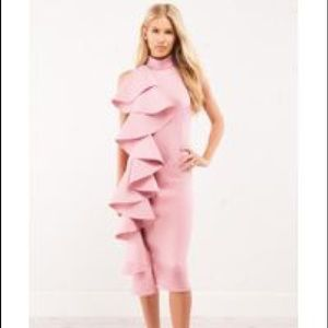 Dresses & Skirts - Pink ruffle pencil scuba dress with halter back